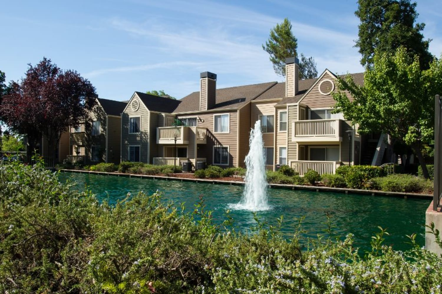 Enjoy a view of the pond from your private patio at Bridges at San Ramon in San Ramon, California