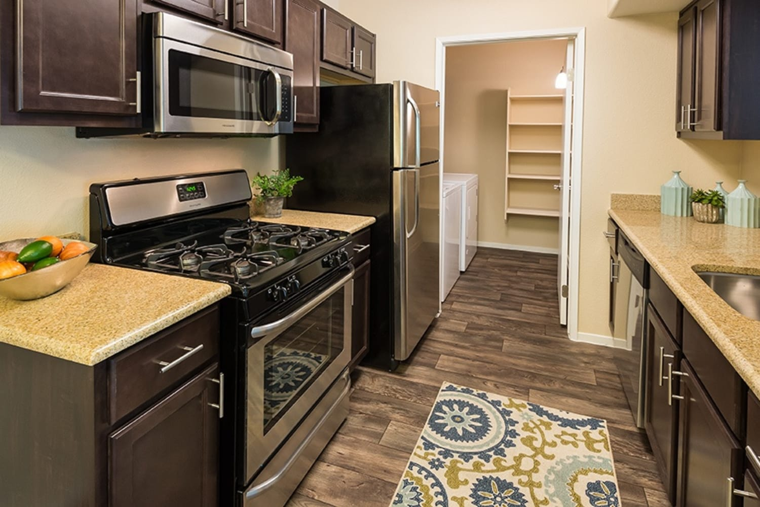 Modern appliances in kitchens at Rancho Destino Apartments in Las Vegas, Nevada