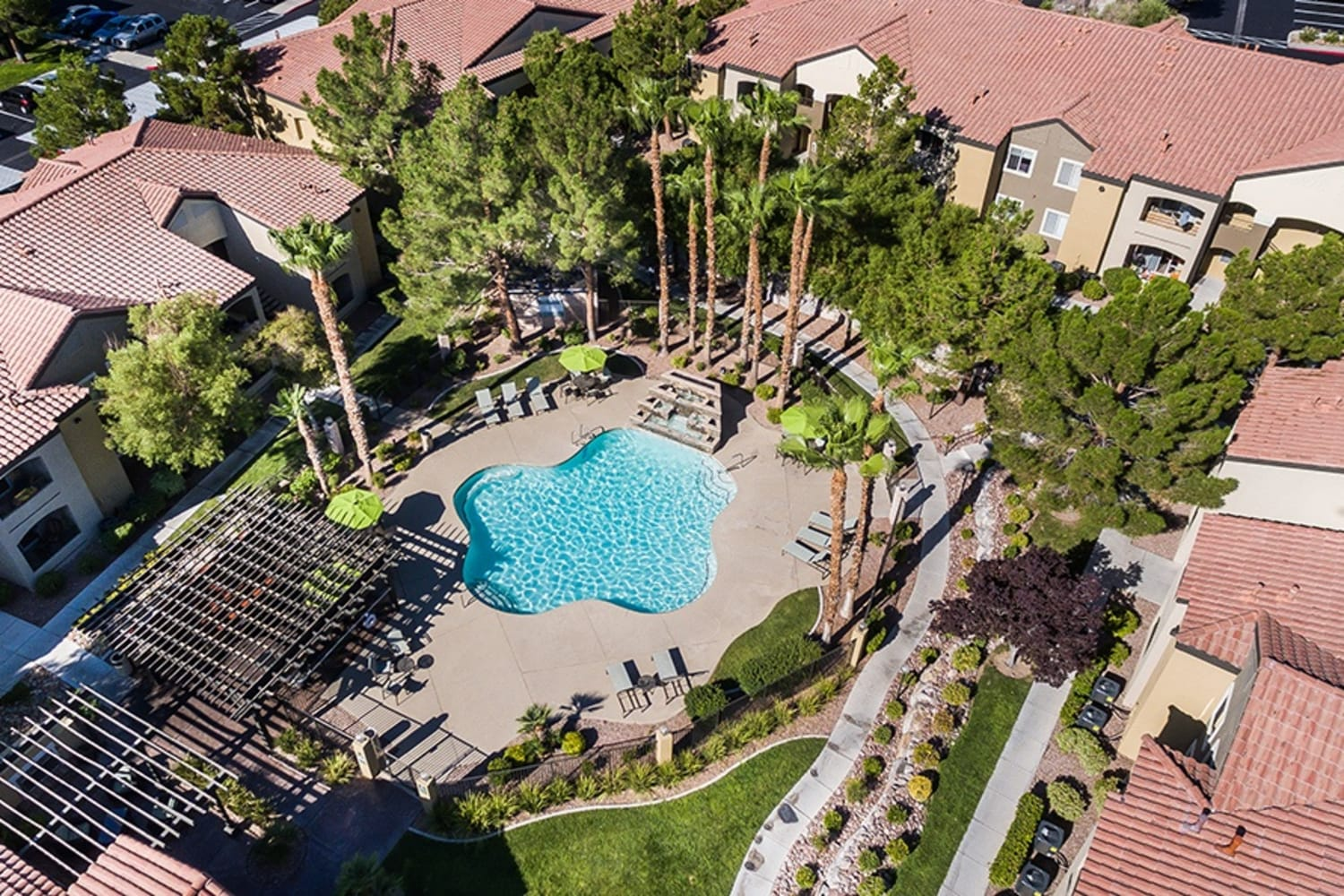 Aerial view of swimming pool at Rancho Destino Apartments in Las Vegas, Nevada