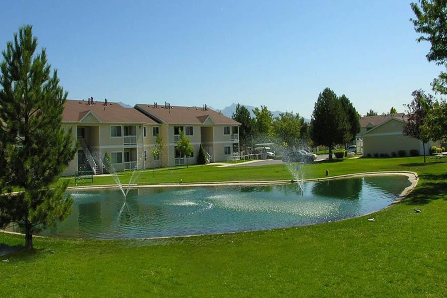Community pond at Lakeside Village Apartments in Salt Lake City, Utah
