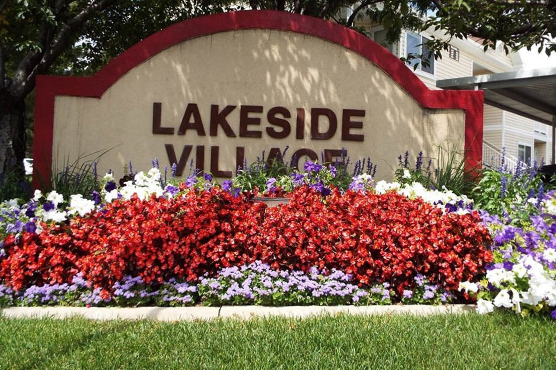 Entrance sign at Lakeside Village Apartments in Salt Lake City, Utah