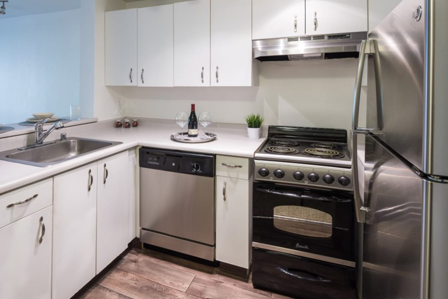 Updated kitchen at Metropolitan Park Apartments in Seattle, Washington