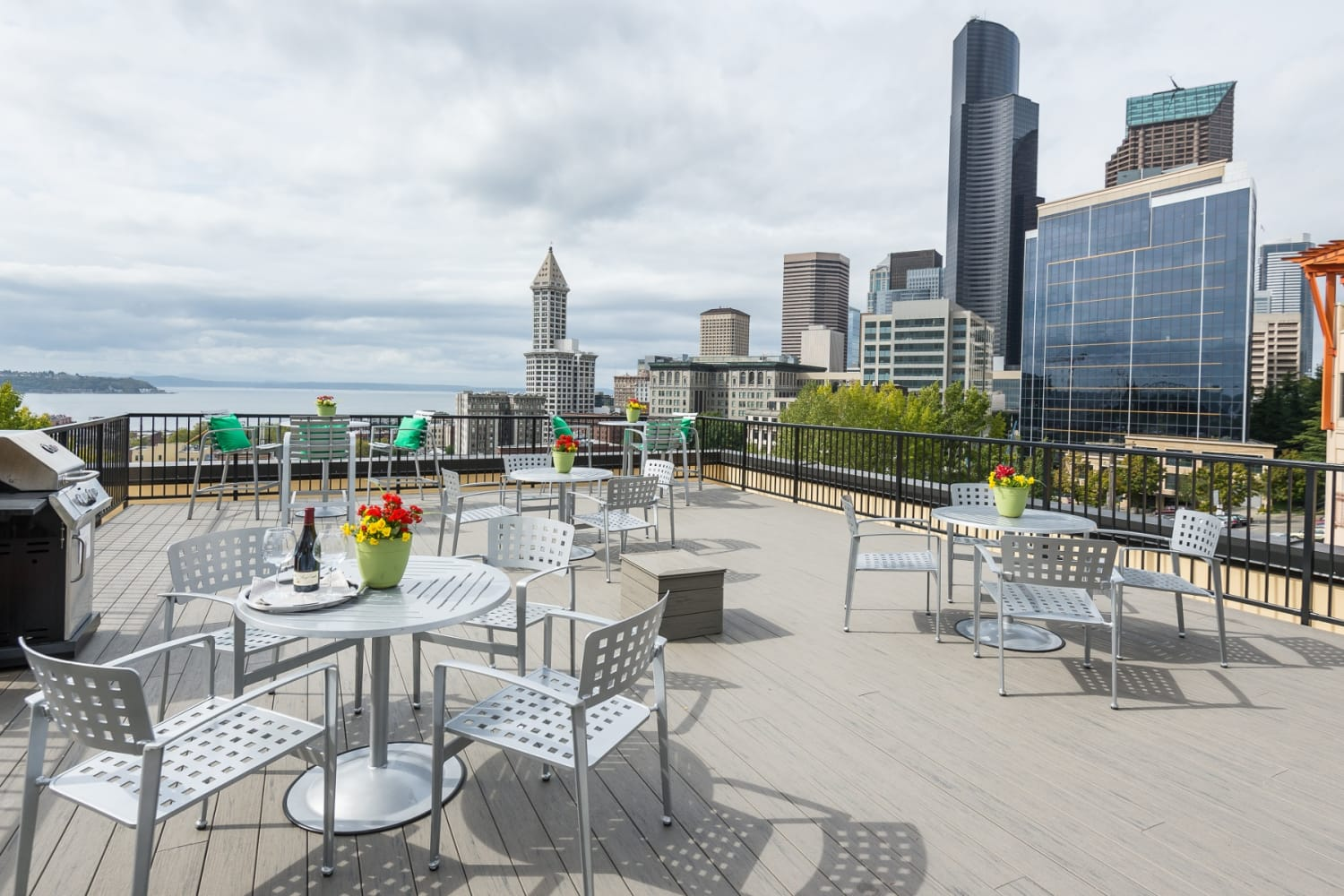 Rooftop views of Puget Sound at Metropolitan Park Apartments in Seattle, Washington