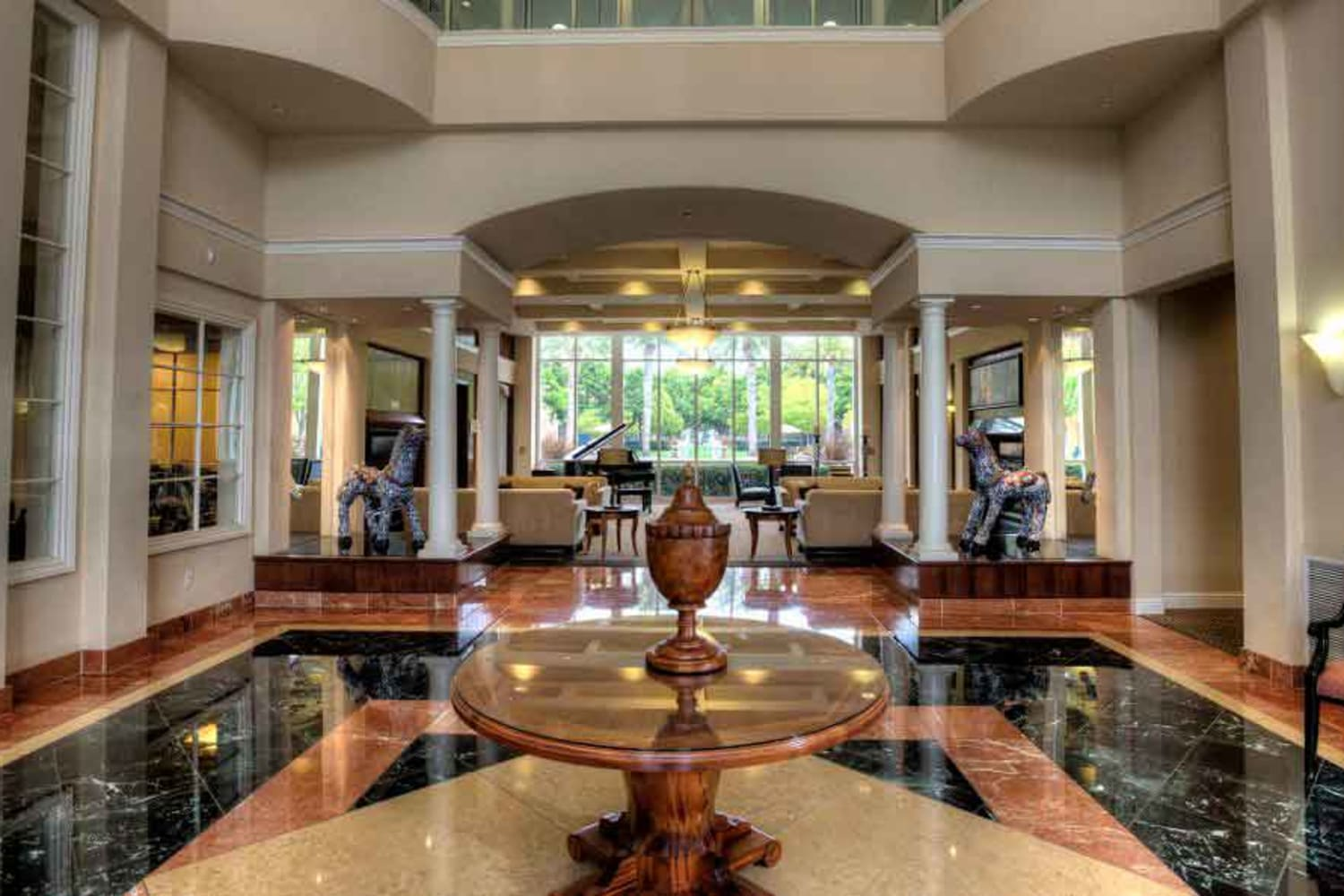 Resort style clubhouse at The Carlyle in Santa Clara, California