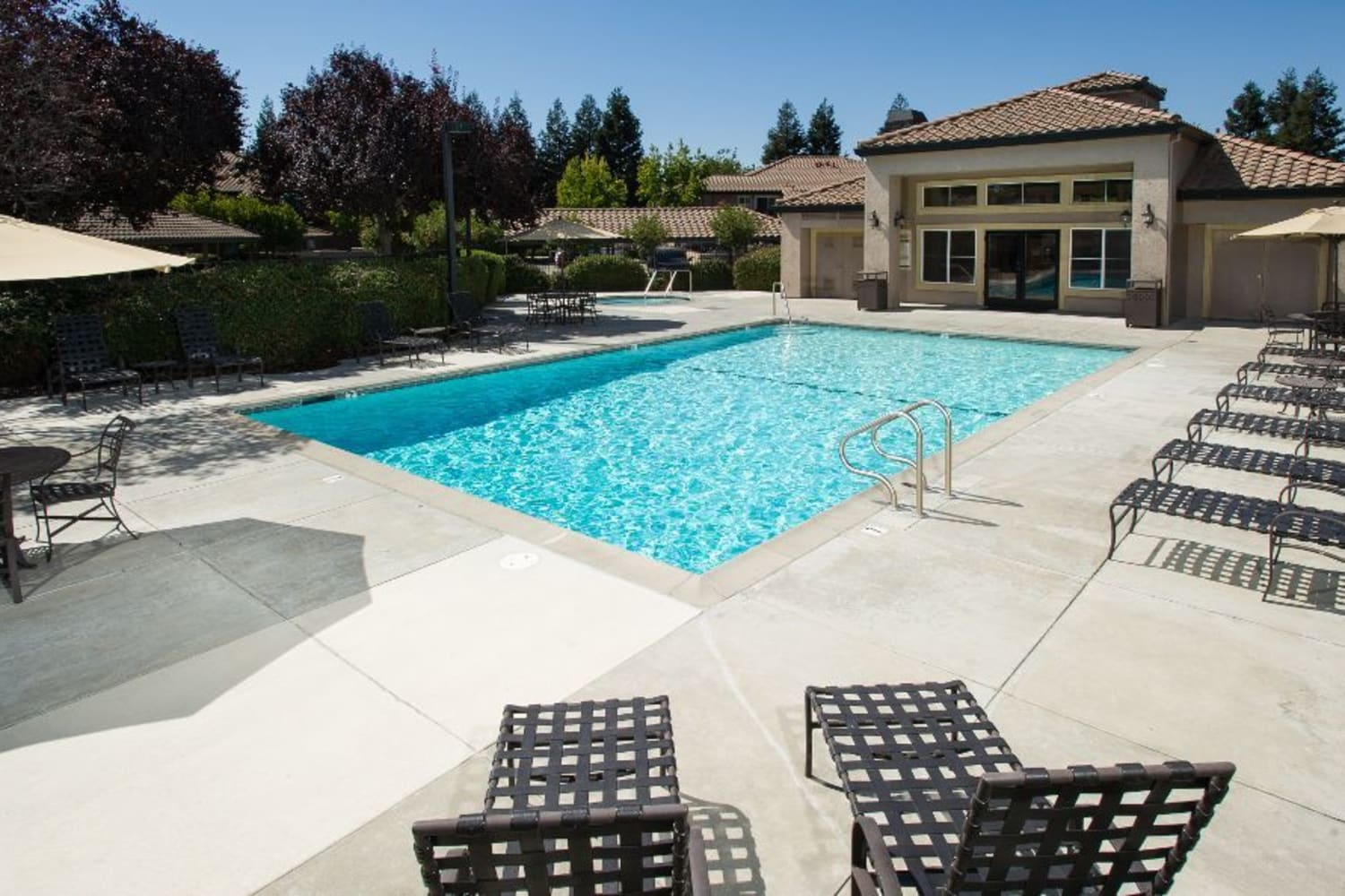 Enjoy relaxing by the pool at La Vina Apartments in Livermore, California