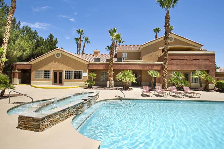 Swimming pool and hot tub at 3055 Las Vegas in Las Vegas, Nevada