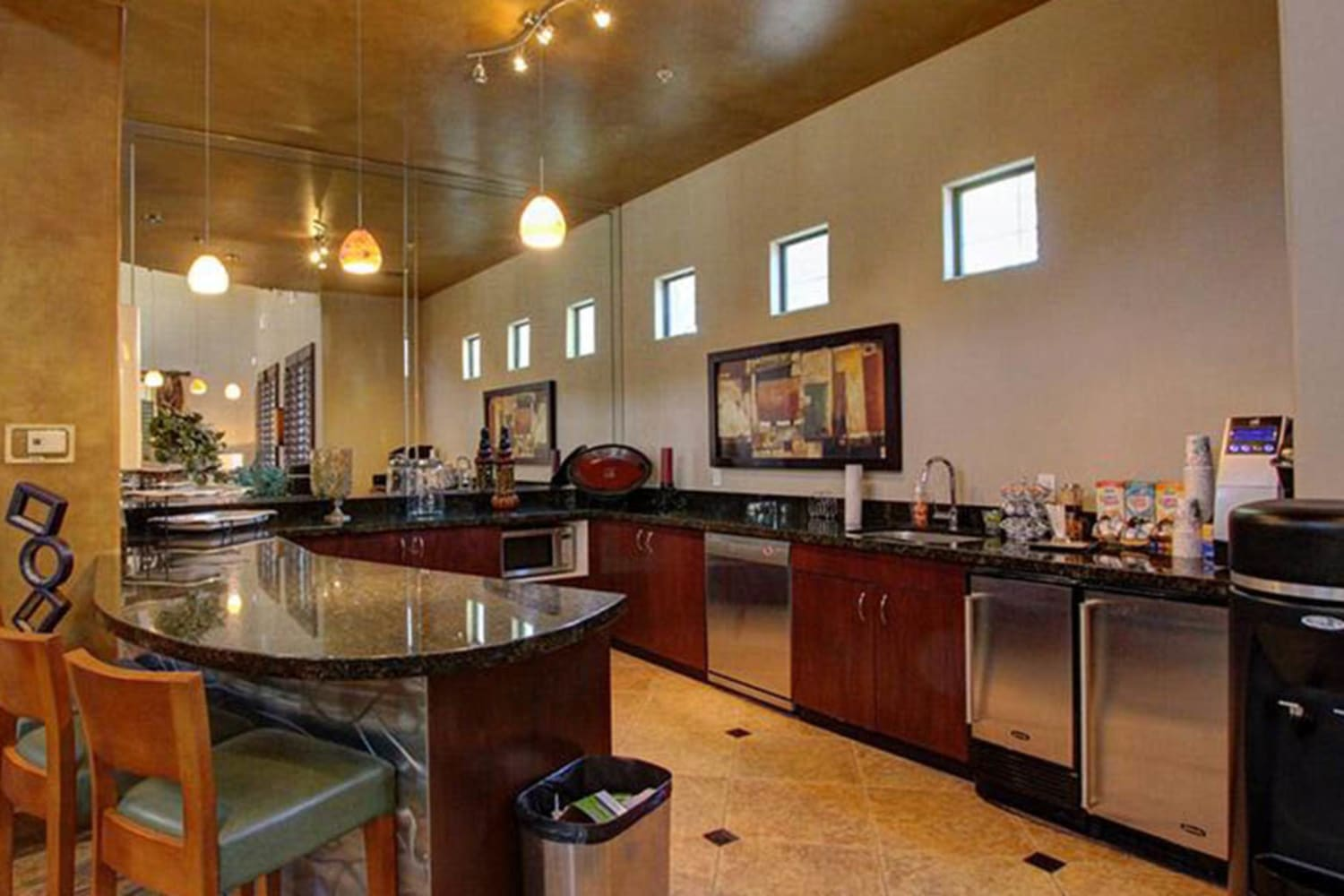 Enjoy access to the clubhouse kitchen at Dobson 2222 in Chandler, Arizona
