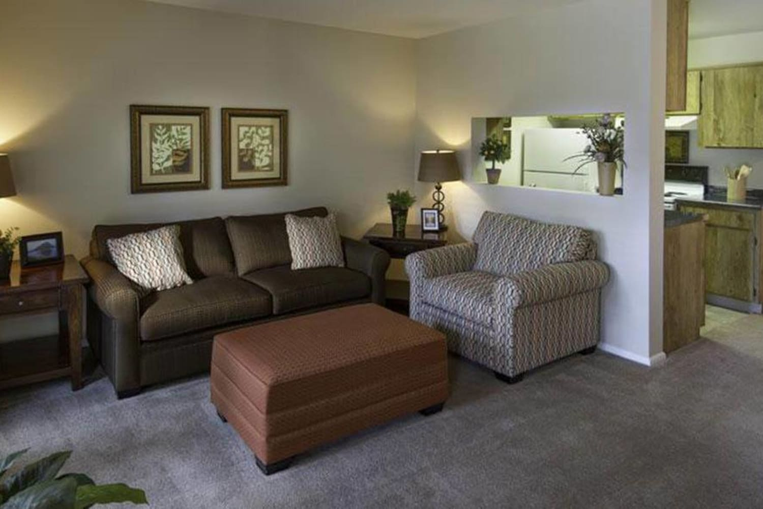 Large living room at Wasatch Club Apartments in Midvale, Utah