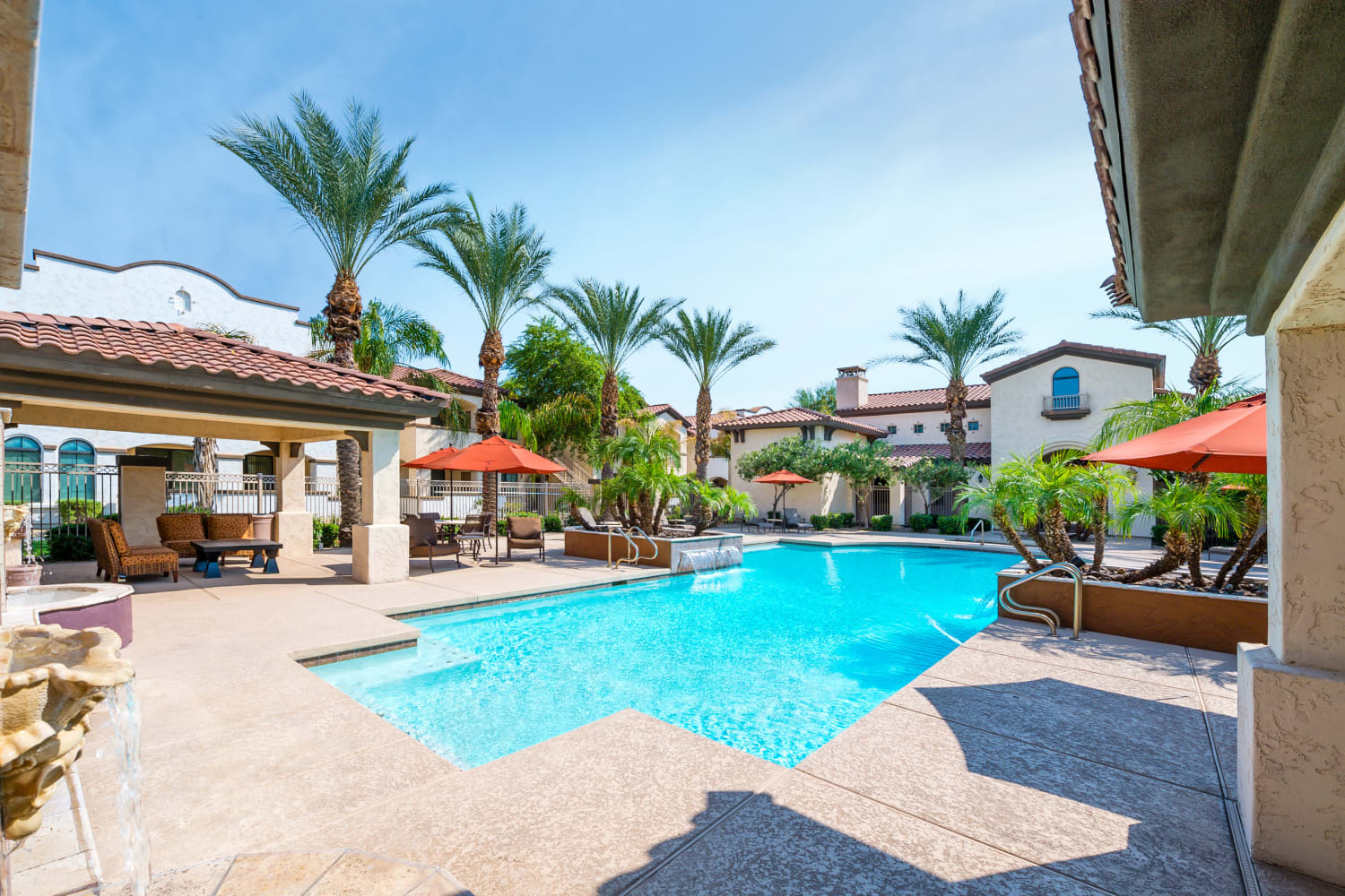 Enjoy a sparkling swimming pool at Dobson 2222 in Chandler, Arizona