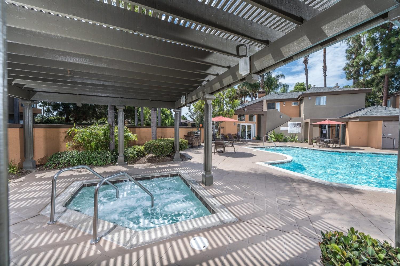 Swimming pool and hot tub at Seapointe Villas in Costa Mesa, California