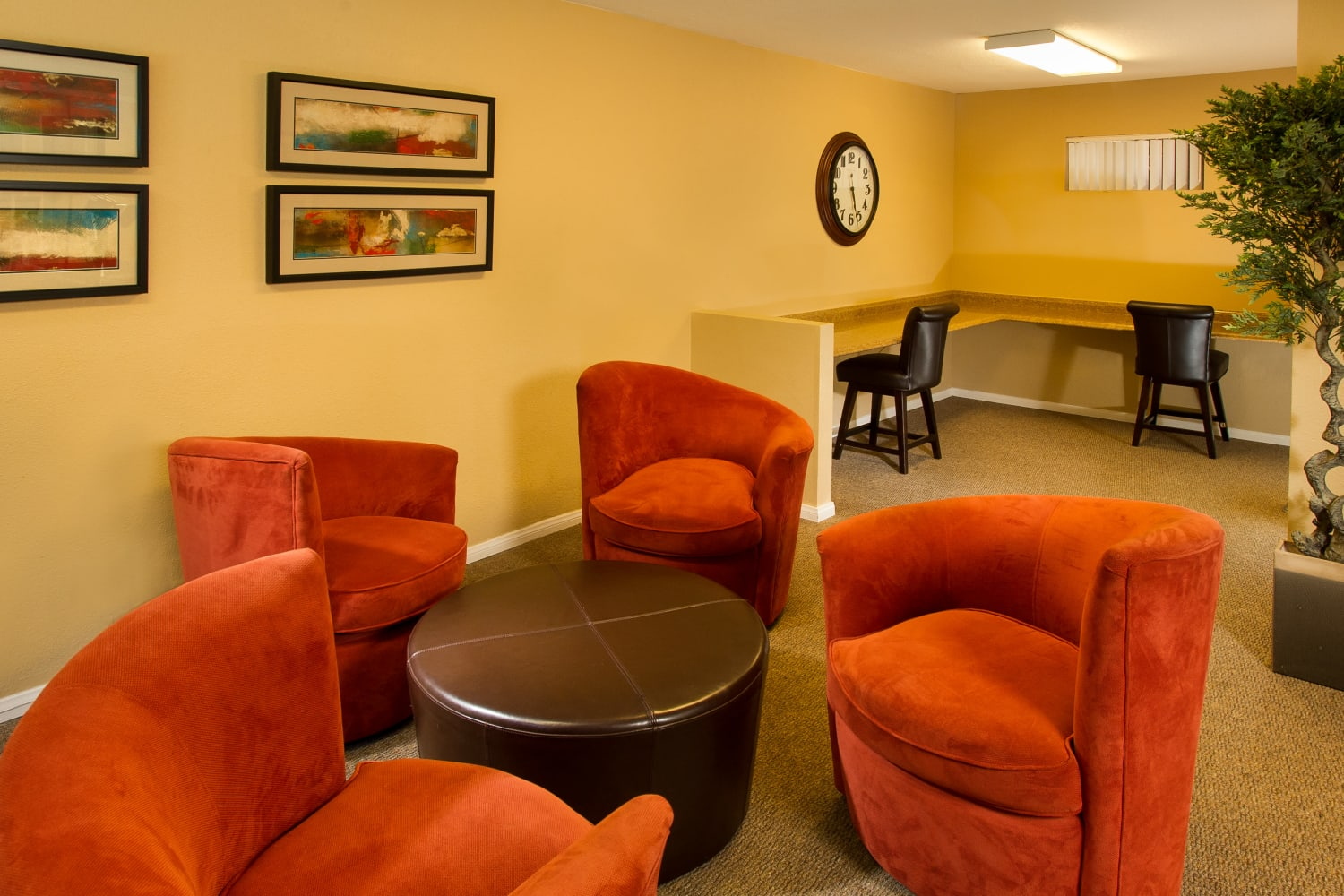 Comfortable clubhouse chairs at Legacy at Westglen in Glendale, California