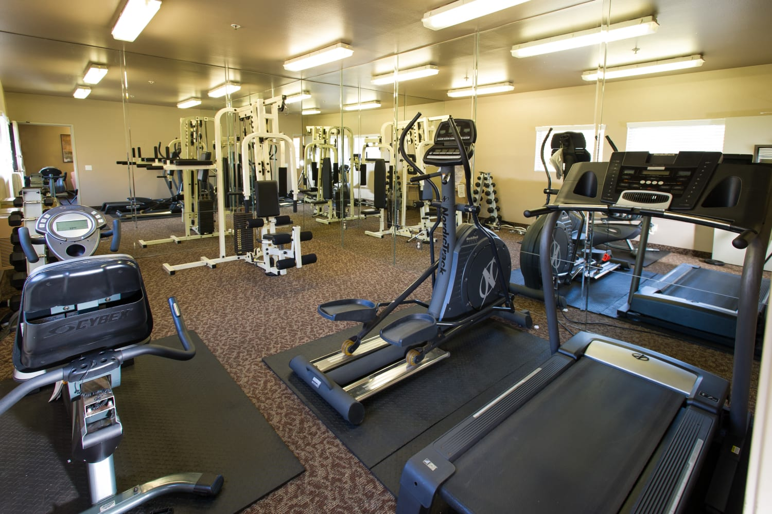 Enjoy access to a fitness center at Fashion Terrace in San Diego, California