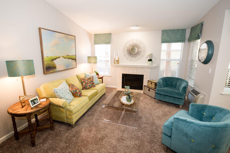 Bright and open living room at Bella Vista Apartments in Santa Clara, California