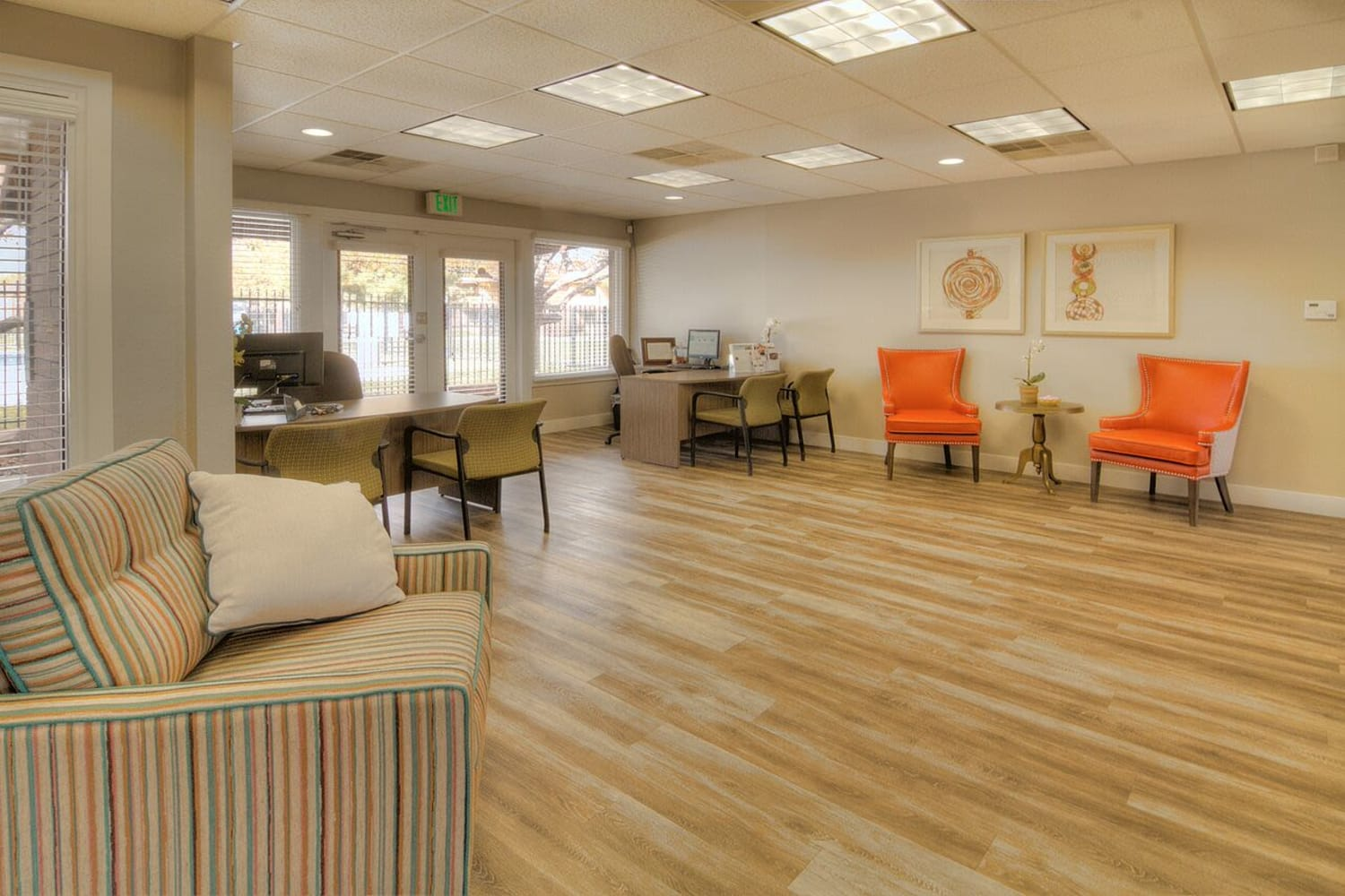 Hardwood floors in clubhouse at Wasatch Club Apartments in Midvale, Utah