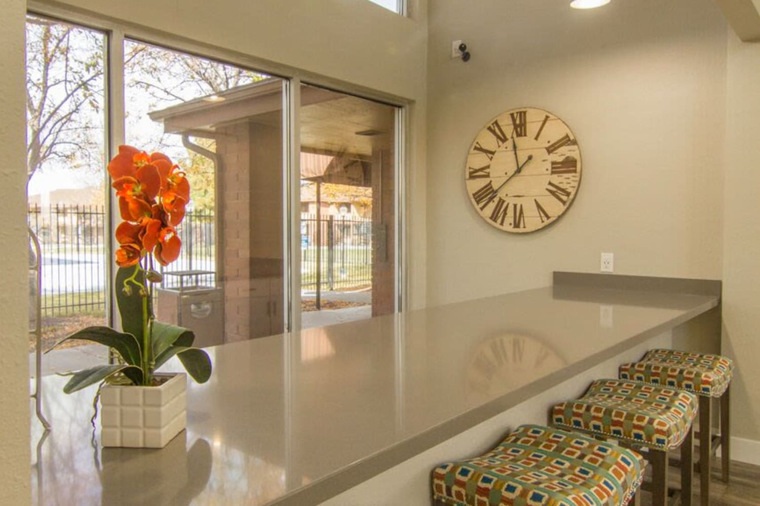 Breakfast bar area at clubhouse in Wasatch Club Apartments in Midvale, Utah