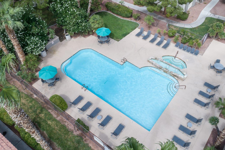 Aerial view of swimming pool at 3055 Las Vegas in Las Vegas, Nevada