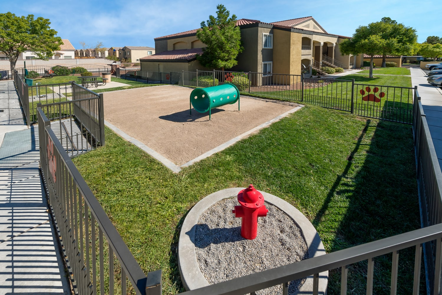 Bring your furry friend to the dog park at Rancho Destino Apartments in Las Vegas, Nevada