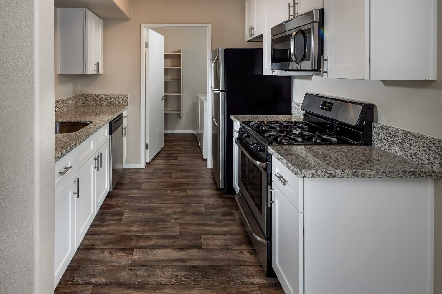 Bright and clean kitchens at Rancho Destino Apartments in Las Vegas, Nevada