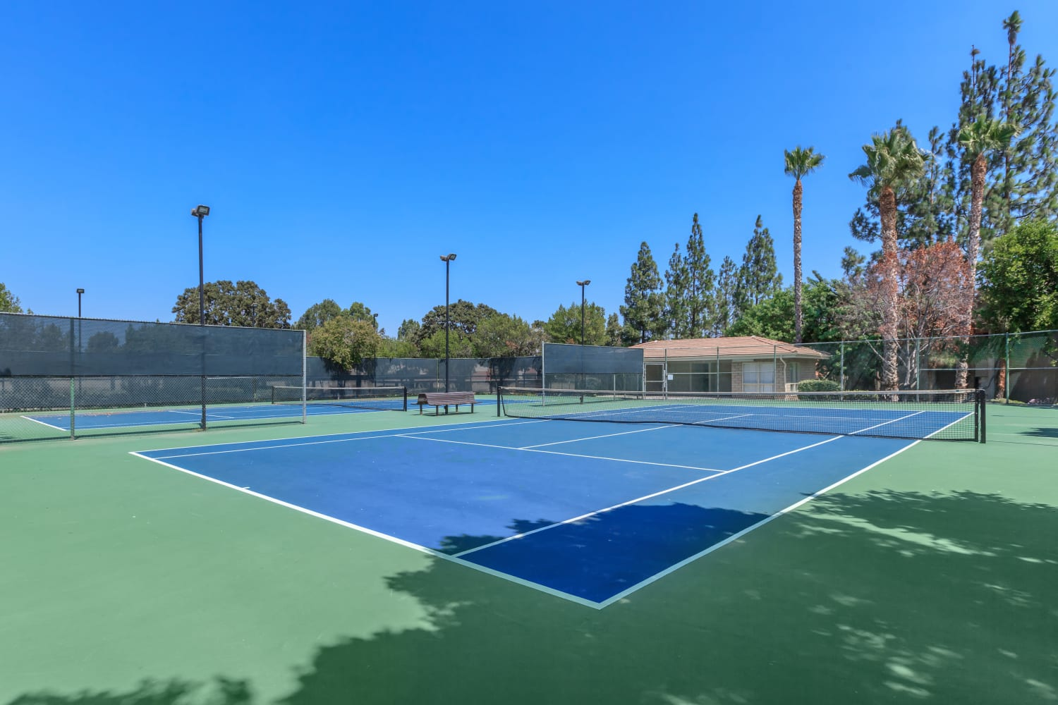 Tennis court at Parcwood Apartments in Corona, California