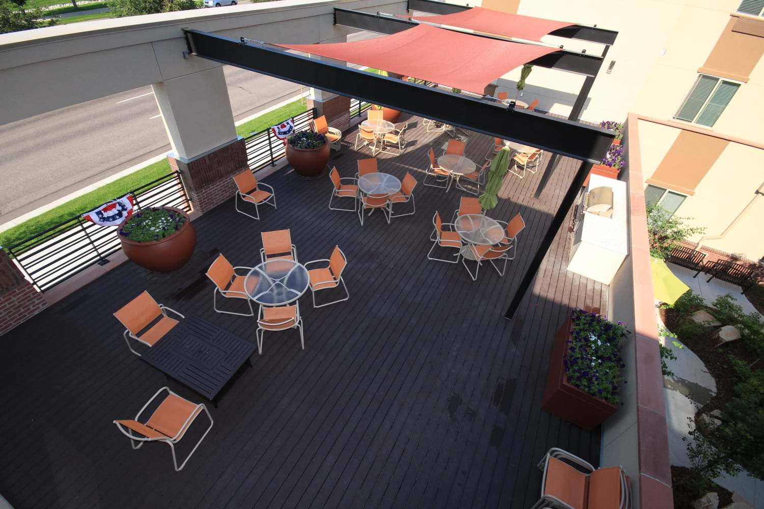 Exterior aerial view of the patio dining area at Village at Belmar