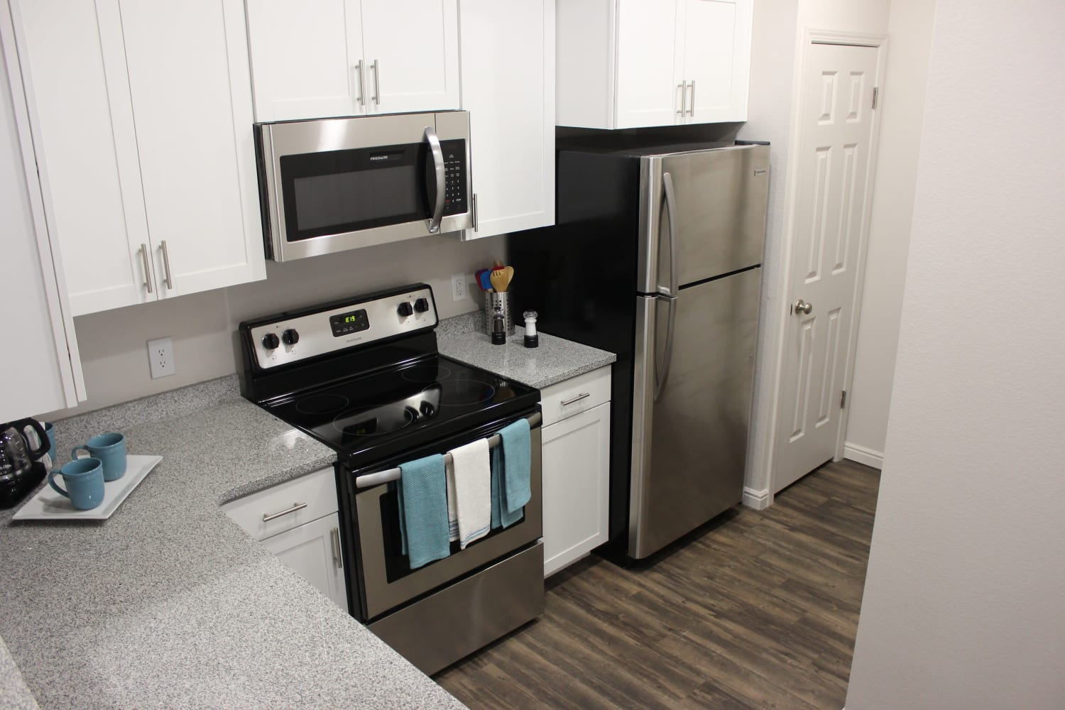 Bright, clean kitchen at Irving Schoolhouse Apartments in Salt Lake City, Utah