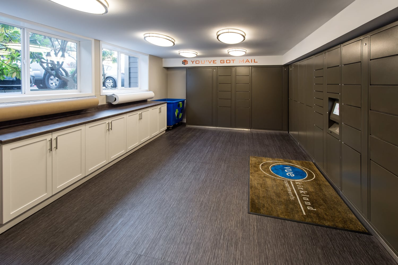 Large mail room at Vue Kirkland Apartments in Kirkland, Washington