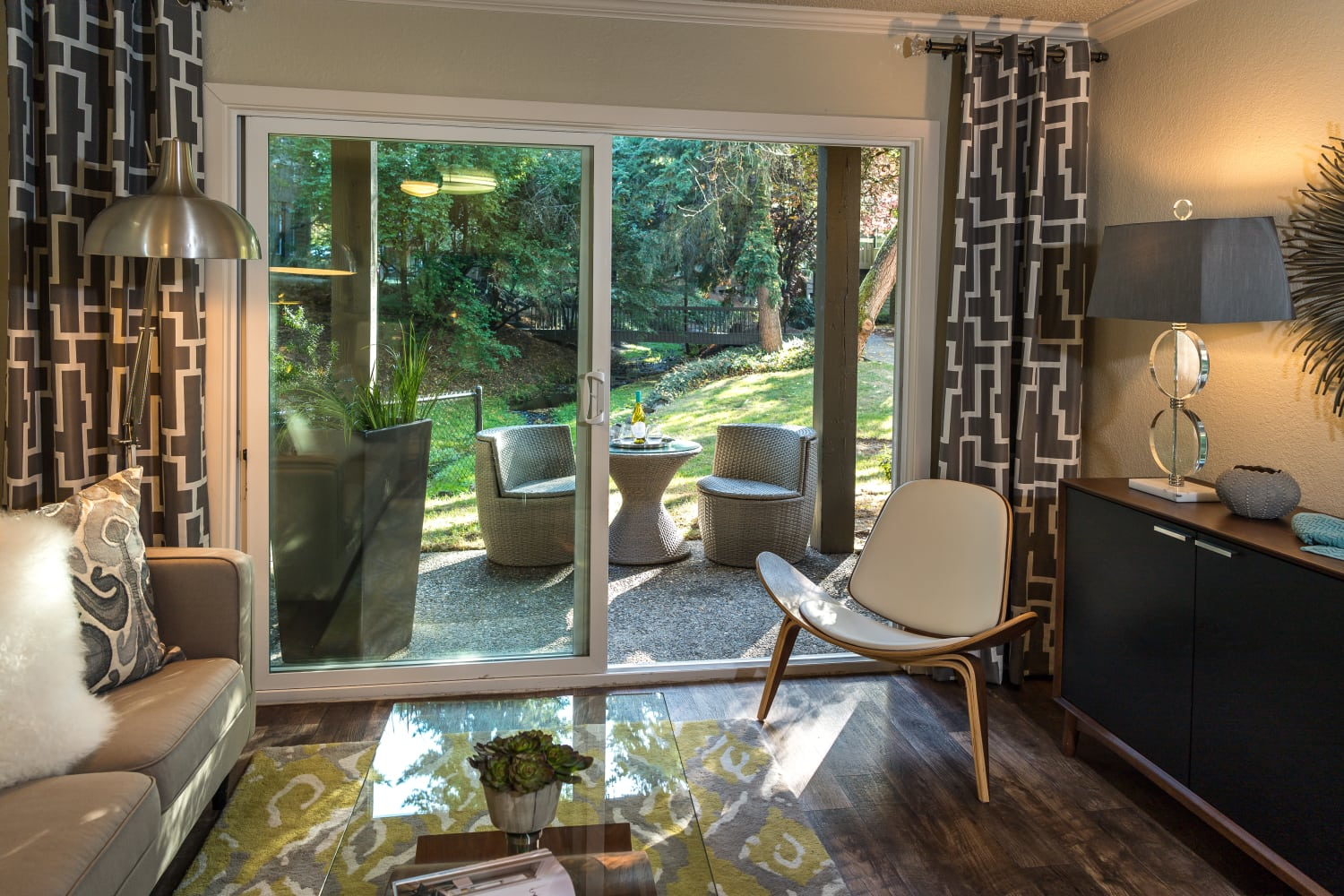 Access to private patio at Vue Kirkland Apartments in Kirkland, Washington