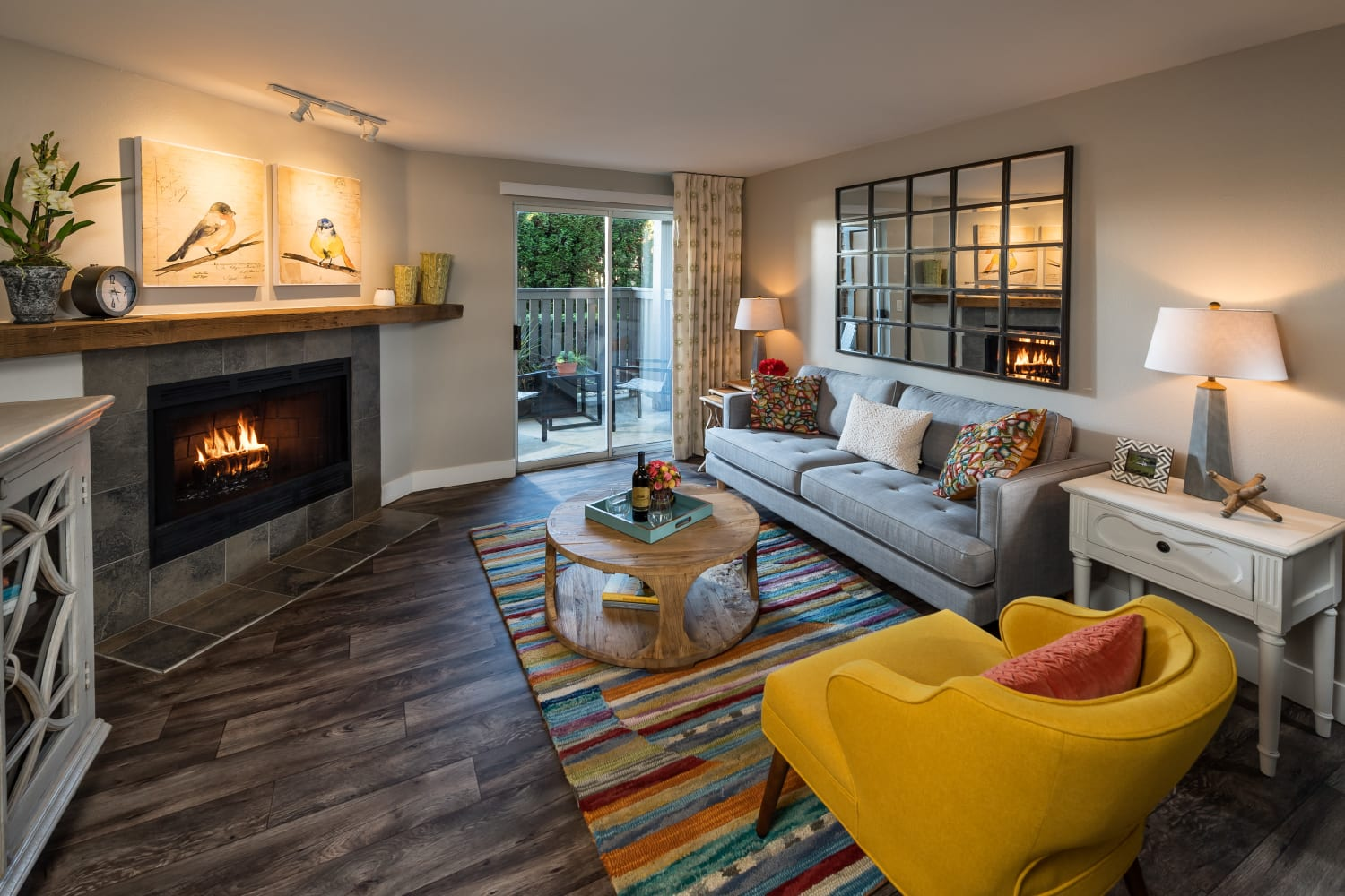 Well appointed living room at Campbell Run Apartments in Woodinville, Washington