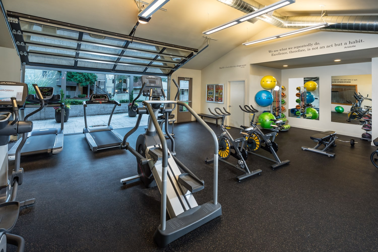 Fitness equipment at Campbell Run Apartments in Woodinville, Washington