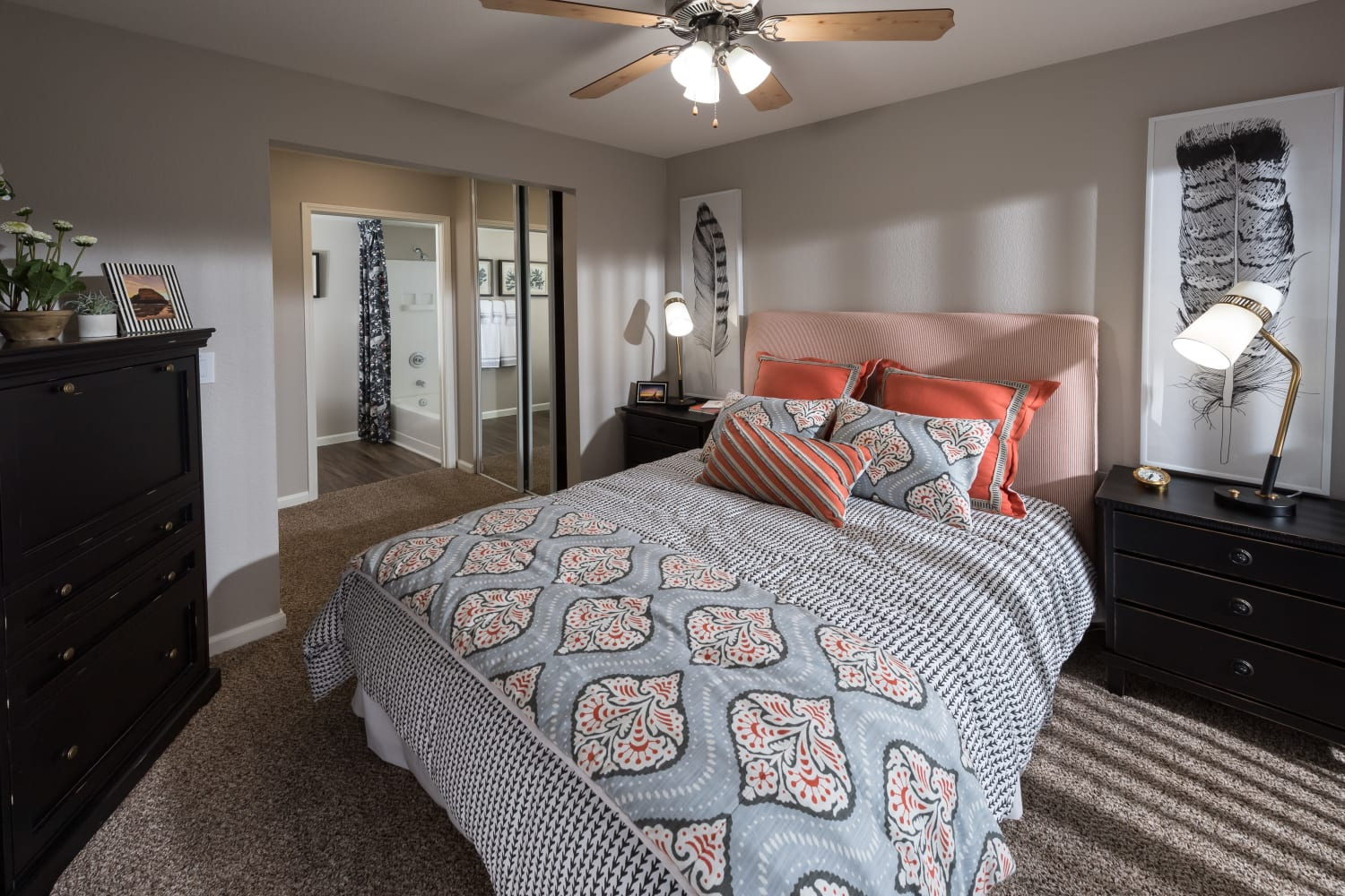 Thoughtfully designed bedrooms at Bella Vista Apartments in Santa Clara, California