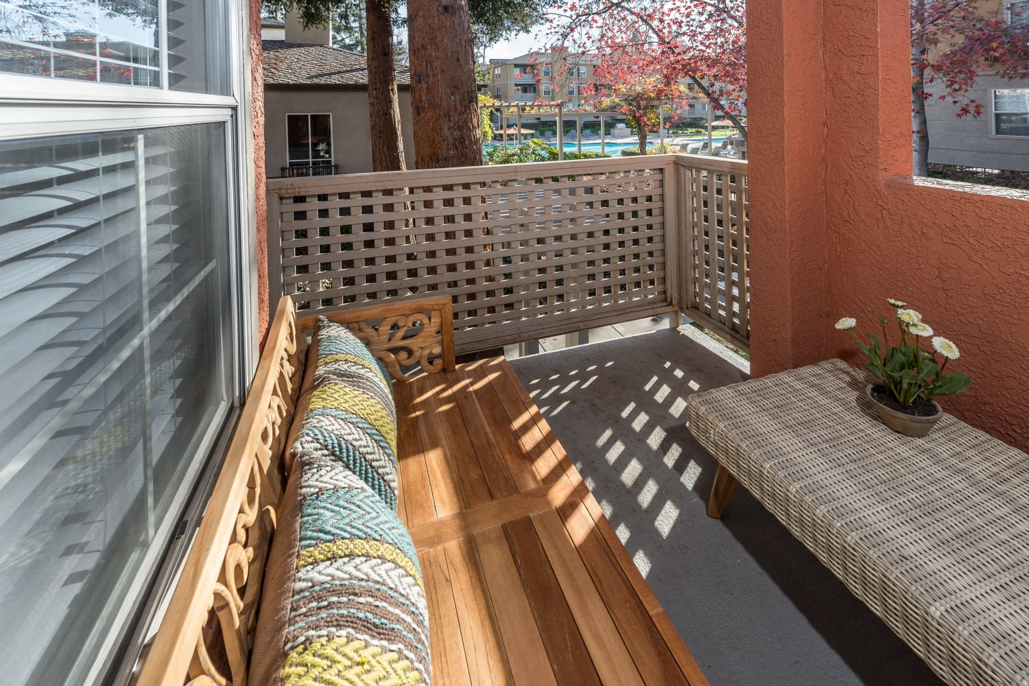 Apartments with private patios at Bella Vista Apartments in Santa Clara, California