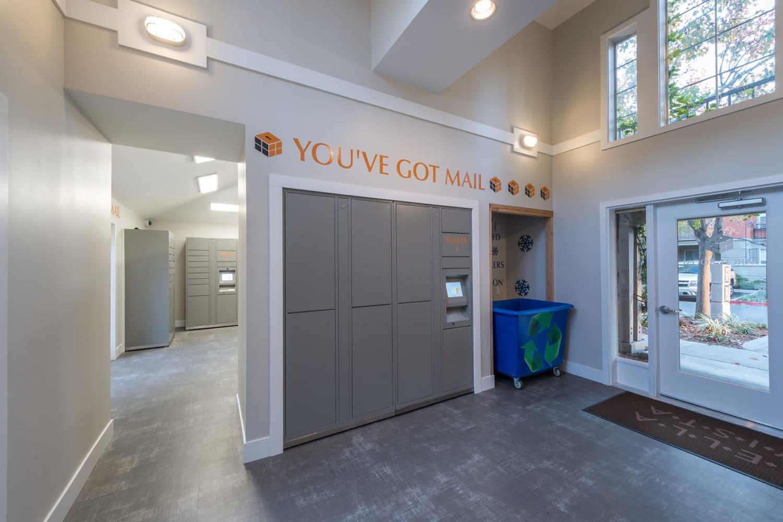 Large parcel room at Bella Vista Apartments in Santa Clara, California