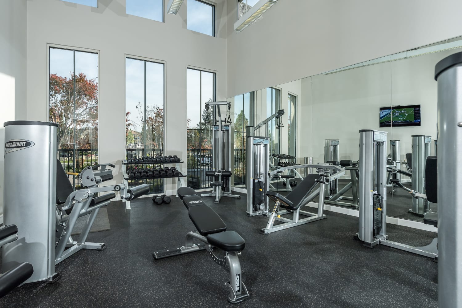 Well-equipped fitness center at Bella Vista Apartments in Santa Clara, California