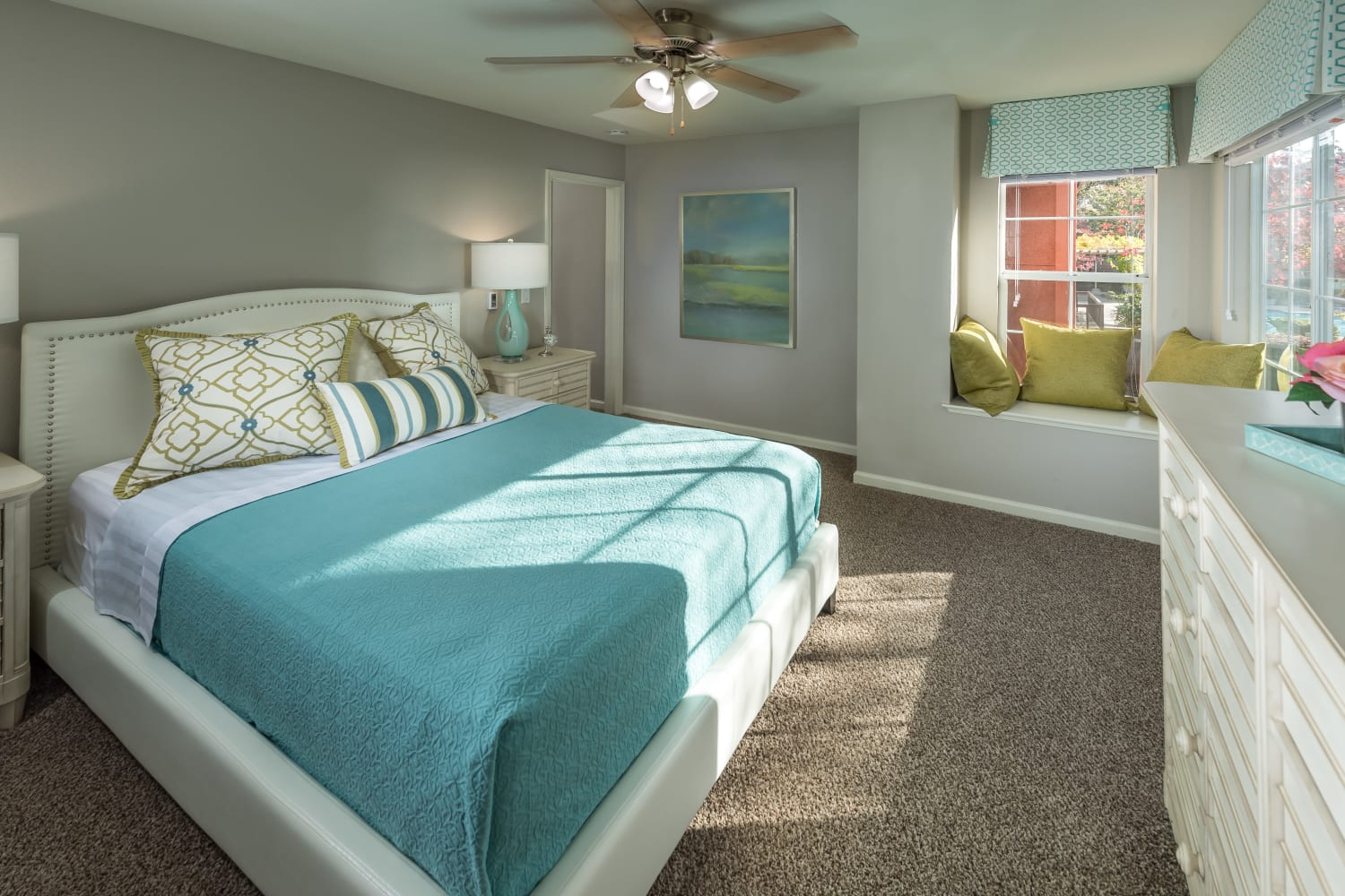 Large bedrooms at Bella Vista Apartments in Santa Clara, California