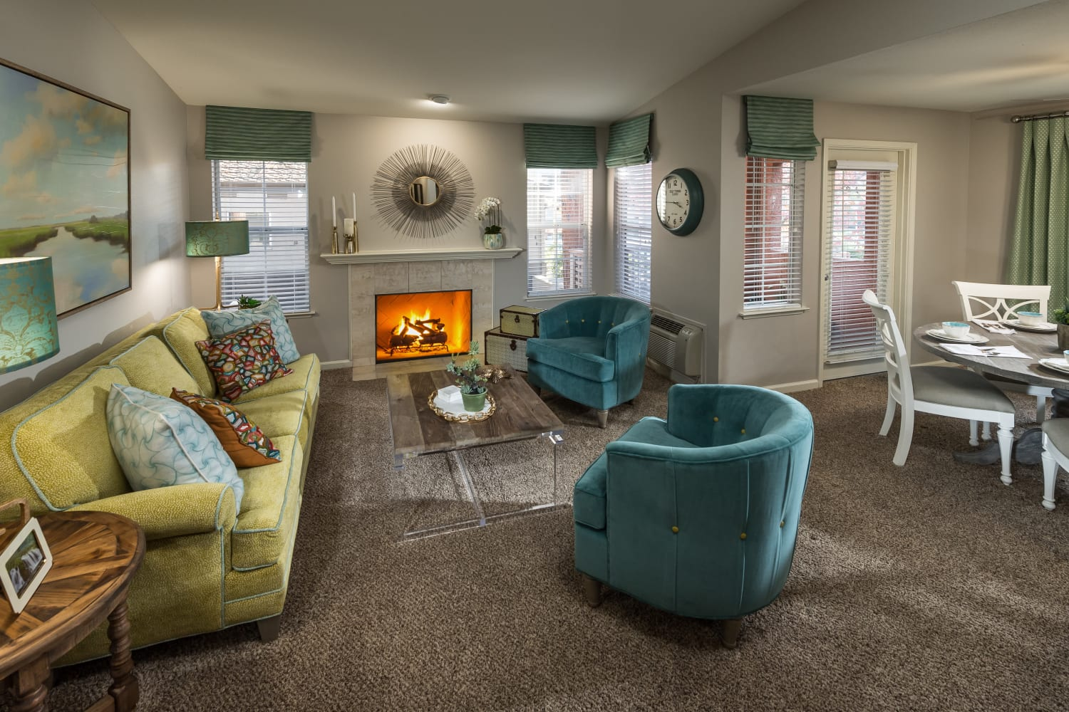 Enjoy open floor plans and plush carpet at Bella Vista Apartments in Santa Clara, California