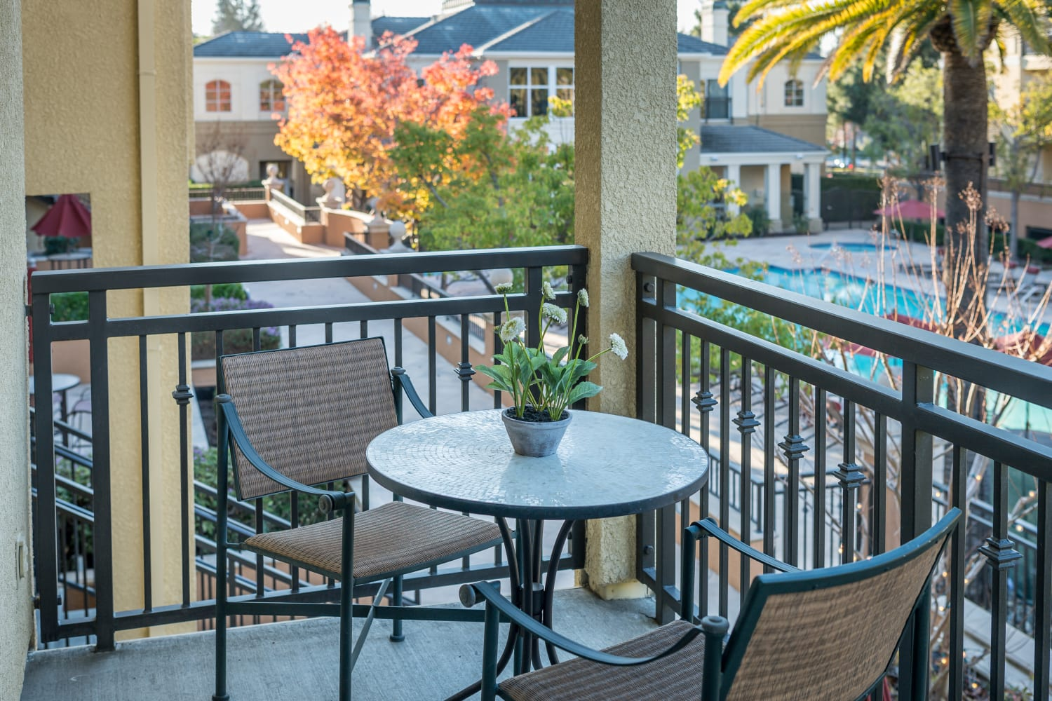 Enjoy apartments with private patios at The Carlyle in Santa Clara, California