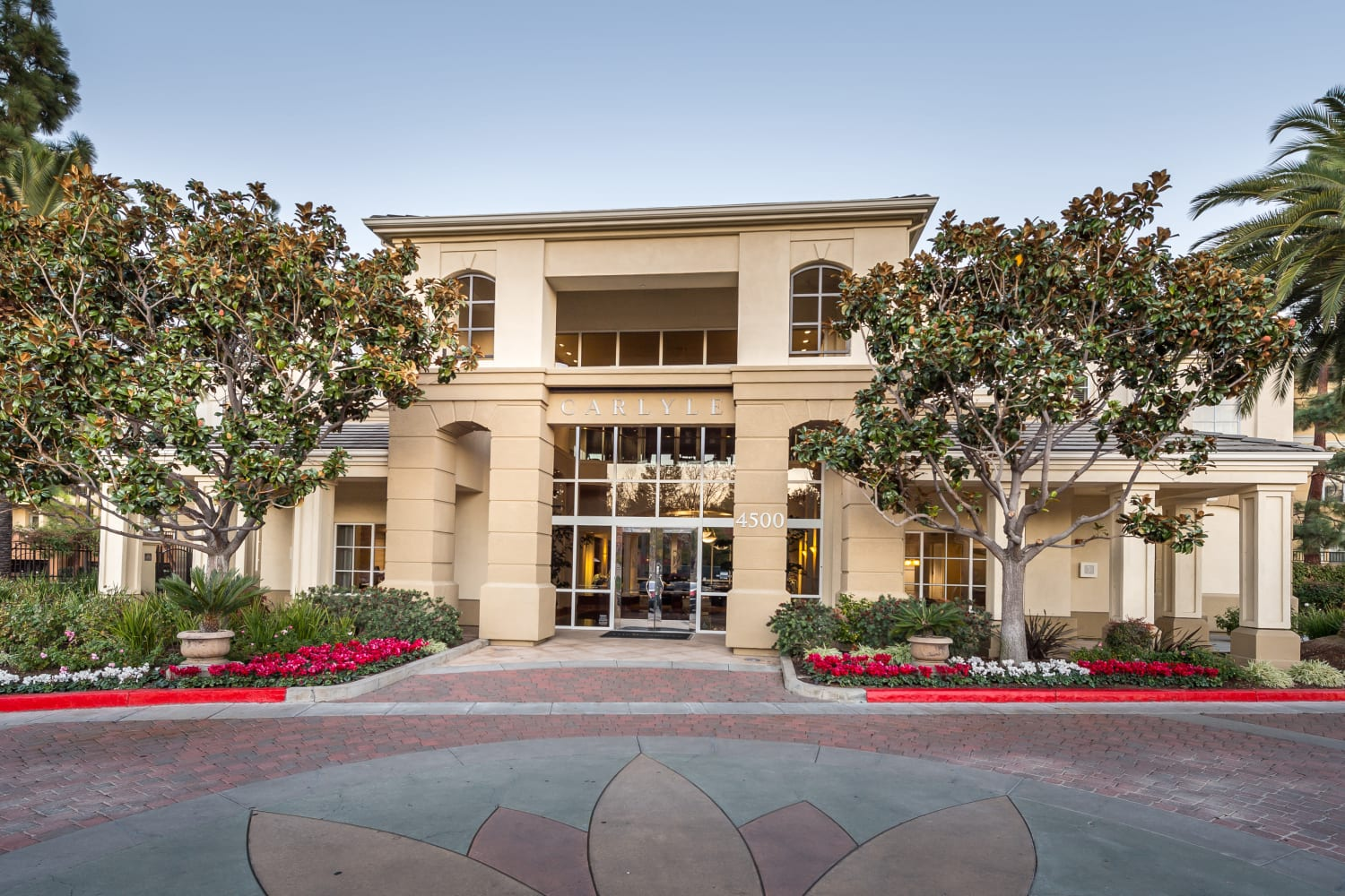 Front entrance at The Carlyle in Santa Clara, California