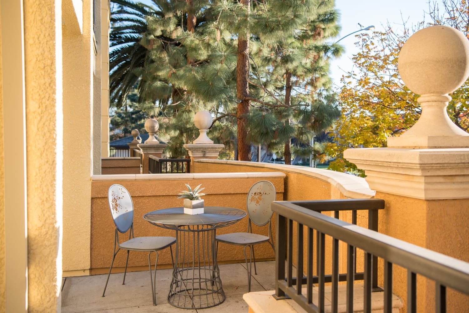 Enjoy your own private patio at The Carlyle in Santa Clara, California