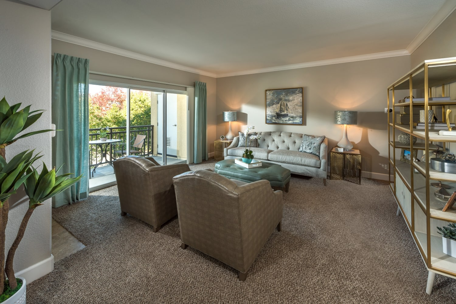 Spacious living rooms at The Carlyle in Santa Clara, California