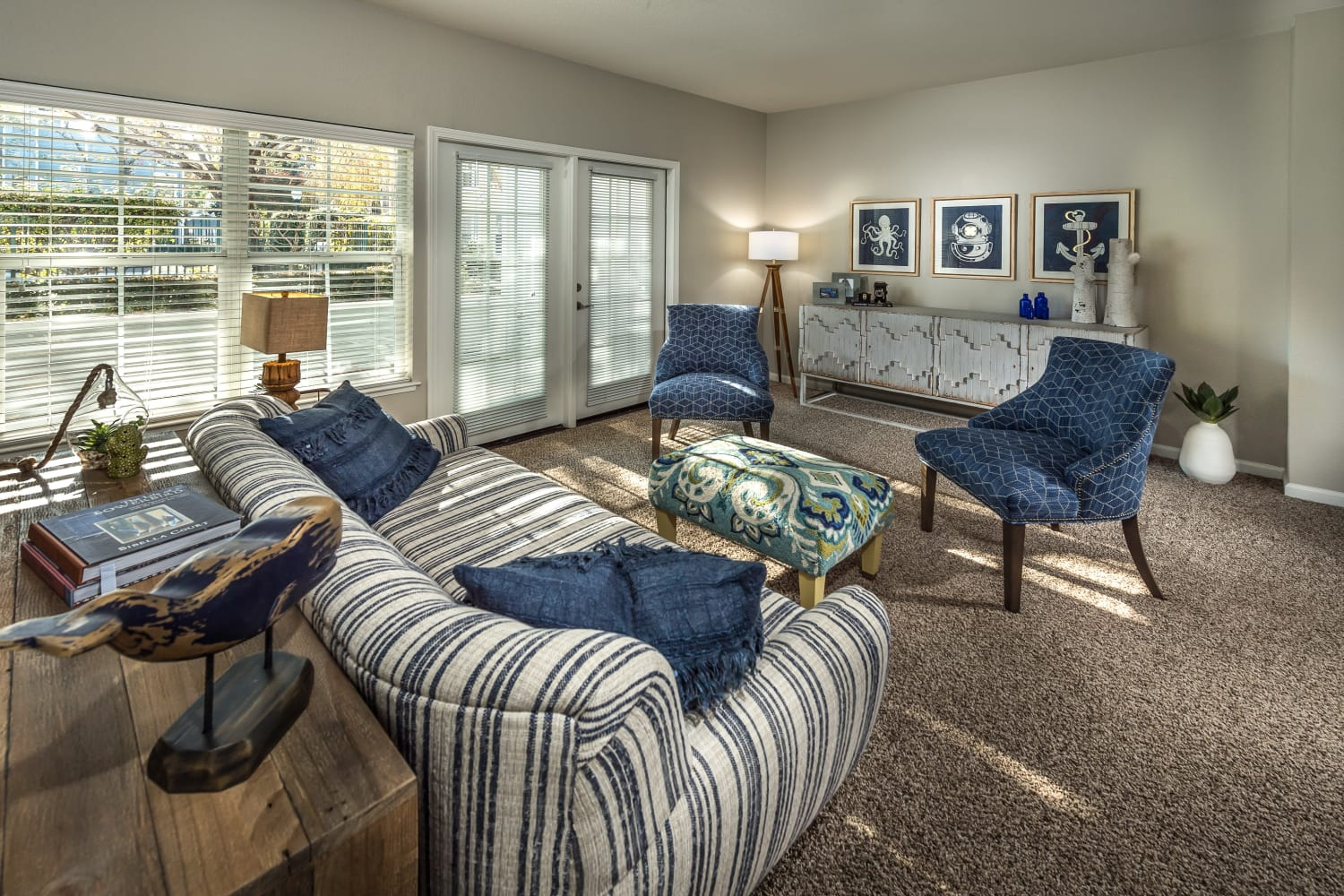 Cozy living room at Nantucket Apartments in Santa Clara, California