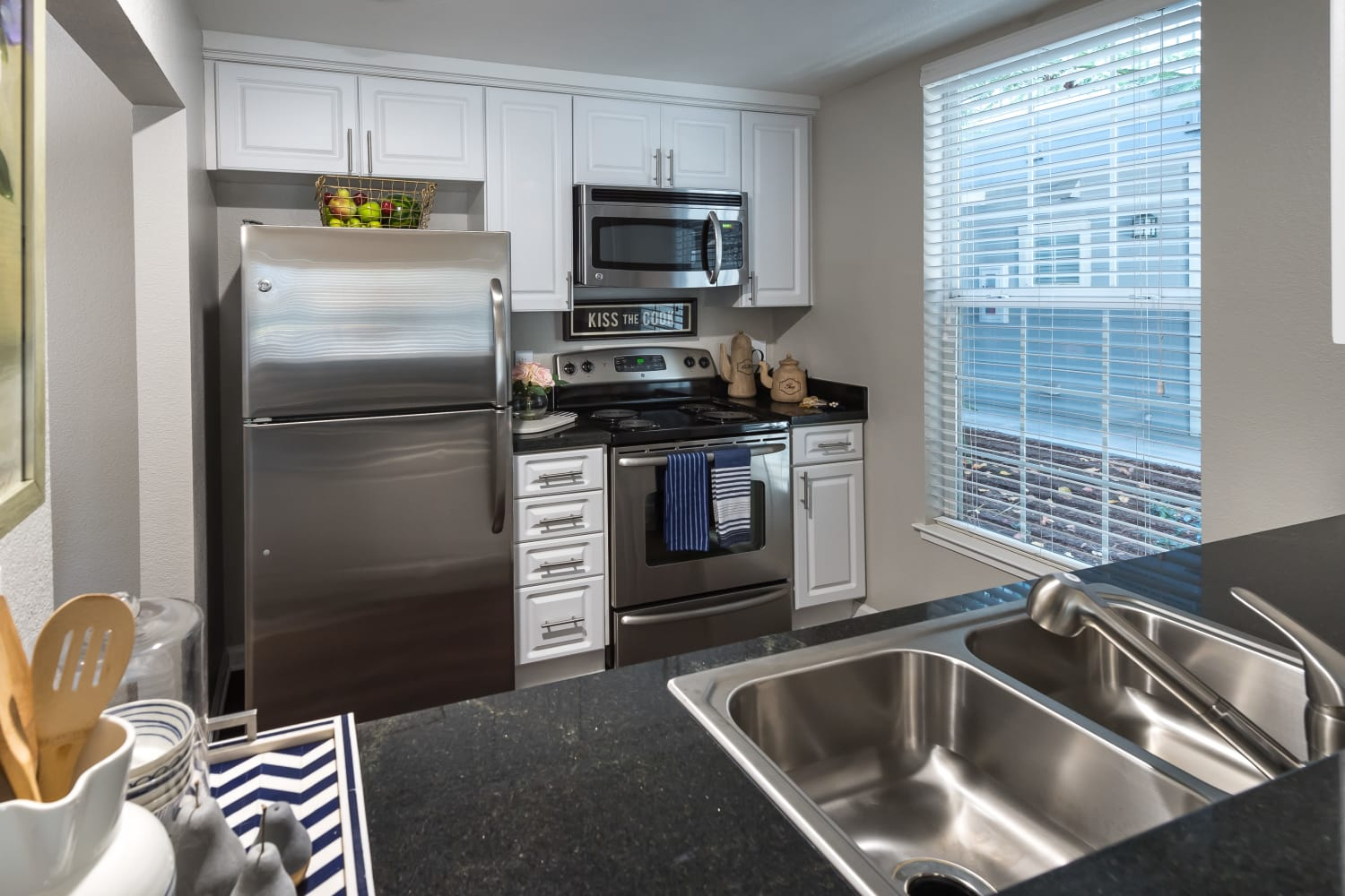Renovated kitchen at Nantucket Apartments in Santa Clara, California