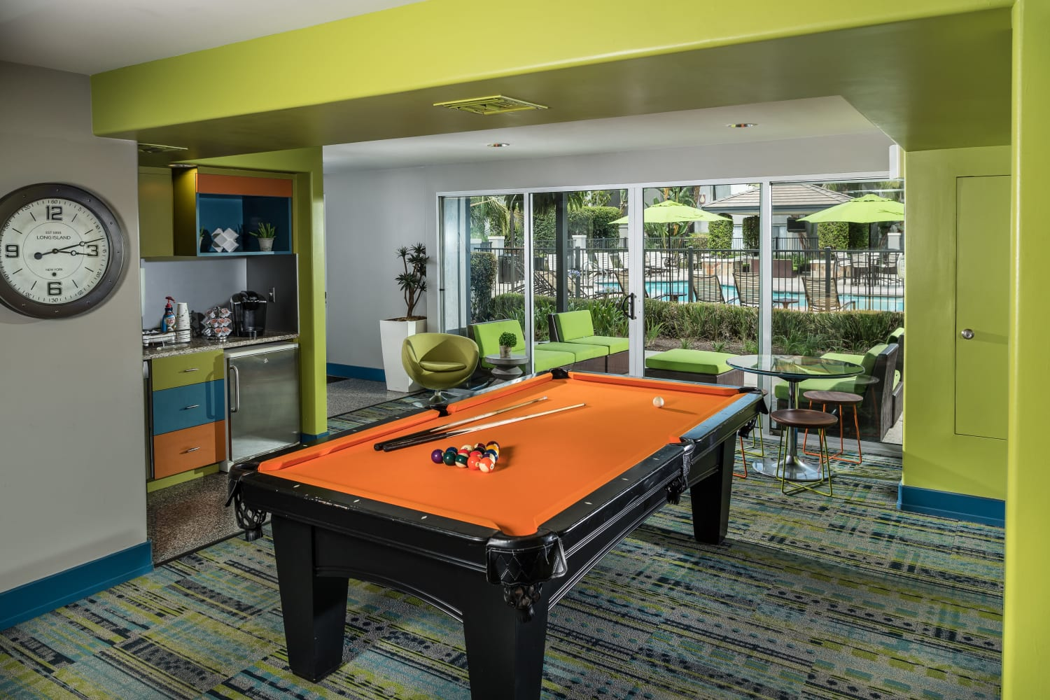 UCE Apartment Homes in Fullerton, California, offers a pool table in the community clubhouse