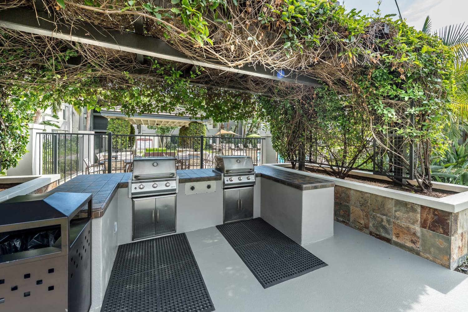 UCE Apartment Homes in Fullerton, California, offers a barbecue area