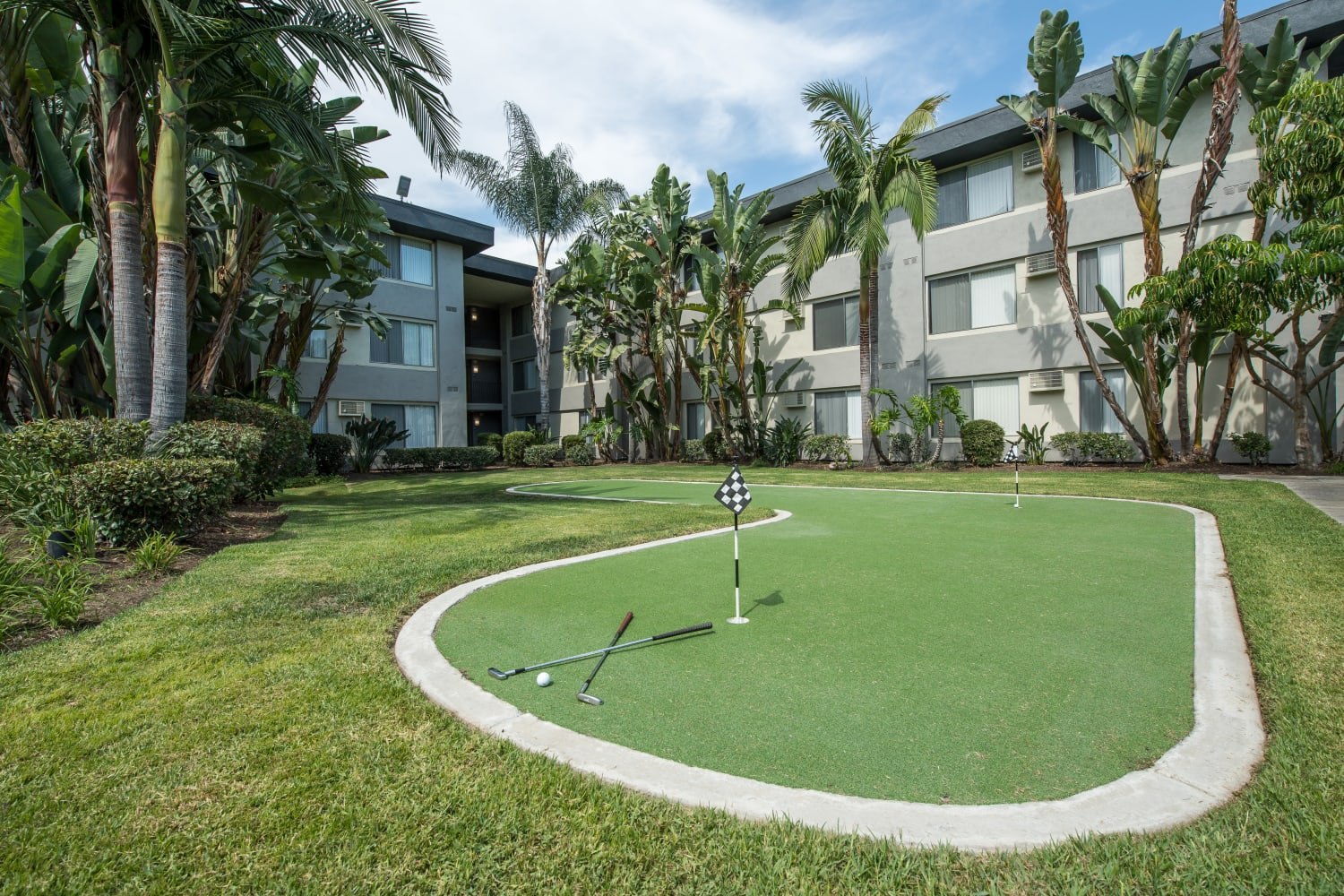 UCE Apartment Homes in Fullerton, California, offers a mini golf course