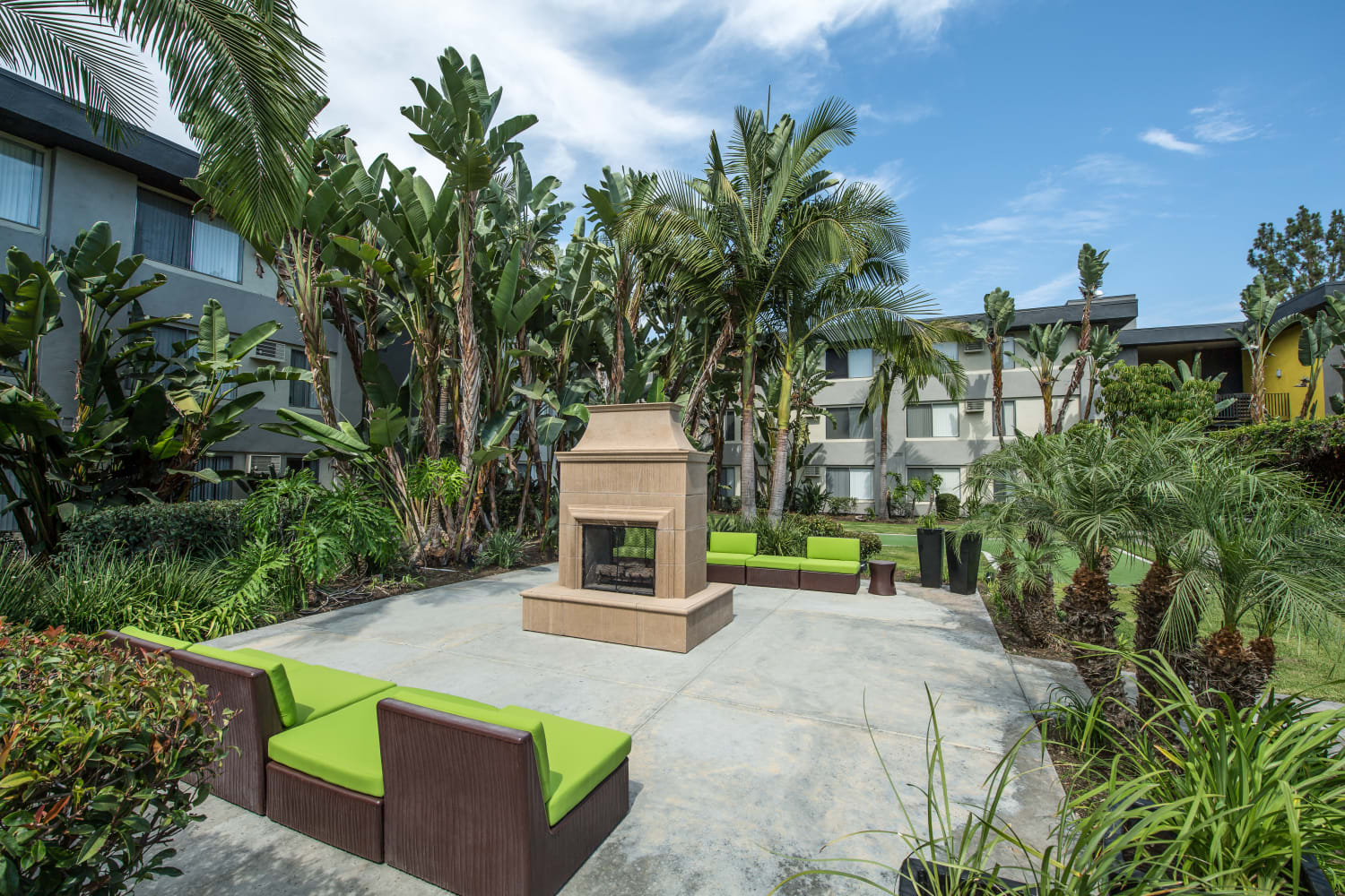 UCE Apartment Homes in Fullerton, California, offers outdoor seating near the fire pit