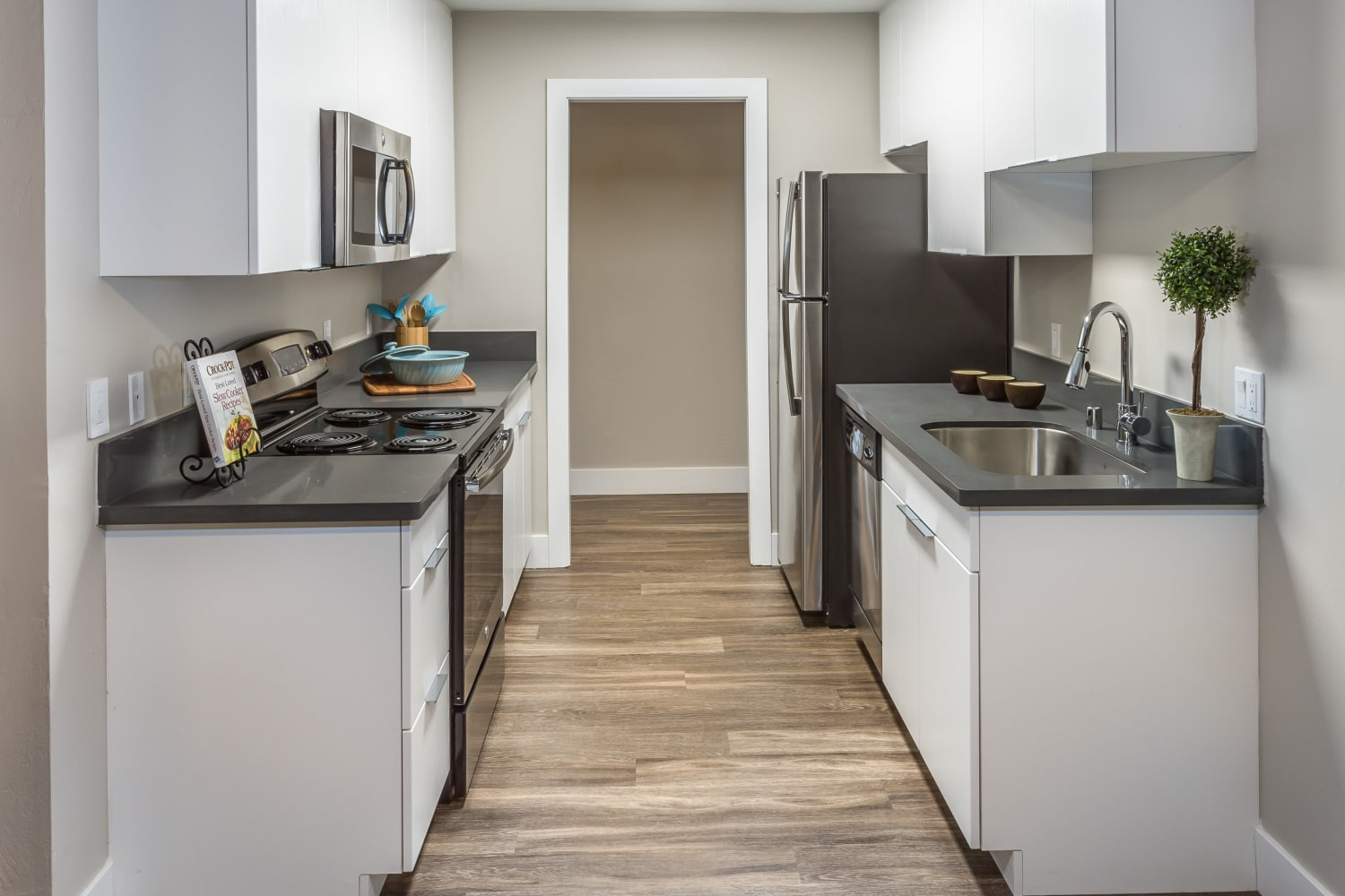 Harbor Cove Apartments in Foster City, California, offer clean and bright kitchens