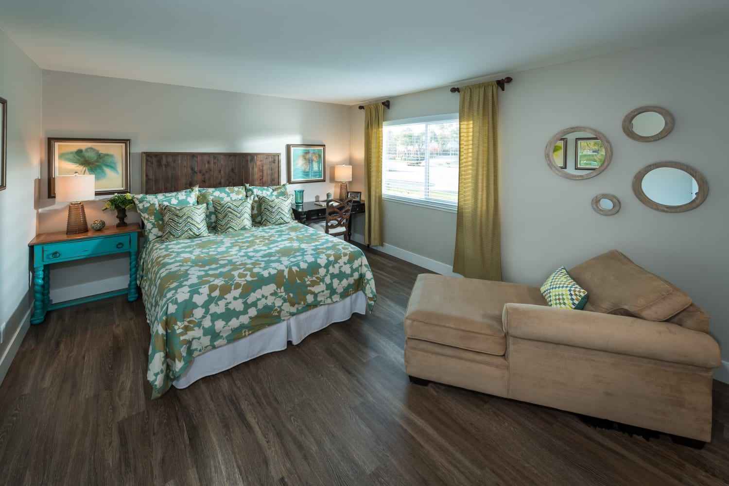 Harbor Cove Apartments in Foster City, California, offer spacious bedrooms complete with hardwood floors