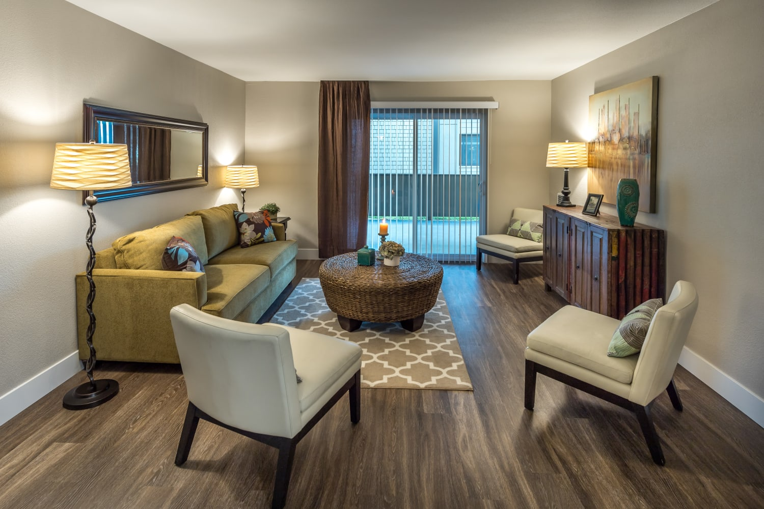Harbor Cove Apartments in Foster City, California, offer beautiful hardwood floors