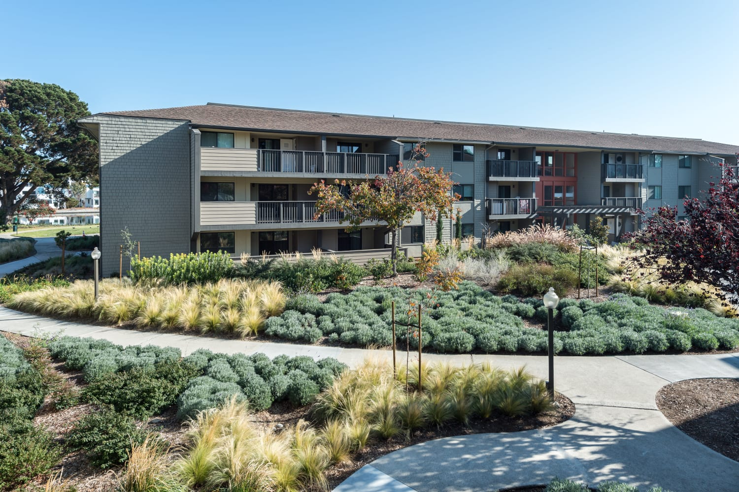 Well-maintained grounds at Harbor Cove Apartments in Foster City, California