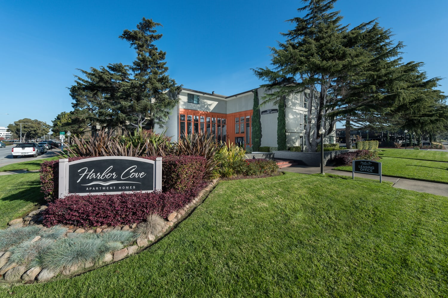 Front sign at Harbor Cove Apartments in Foster City, California